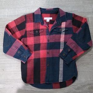 Burberry Children plaid flannel button down shirt